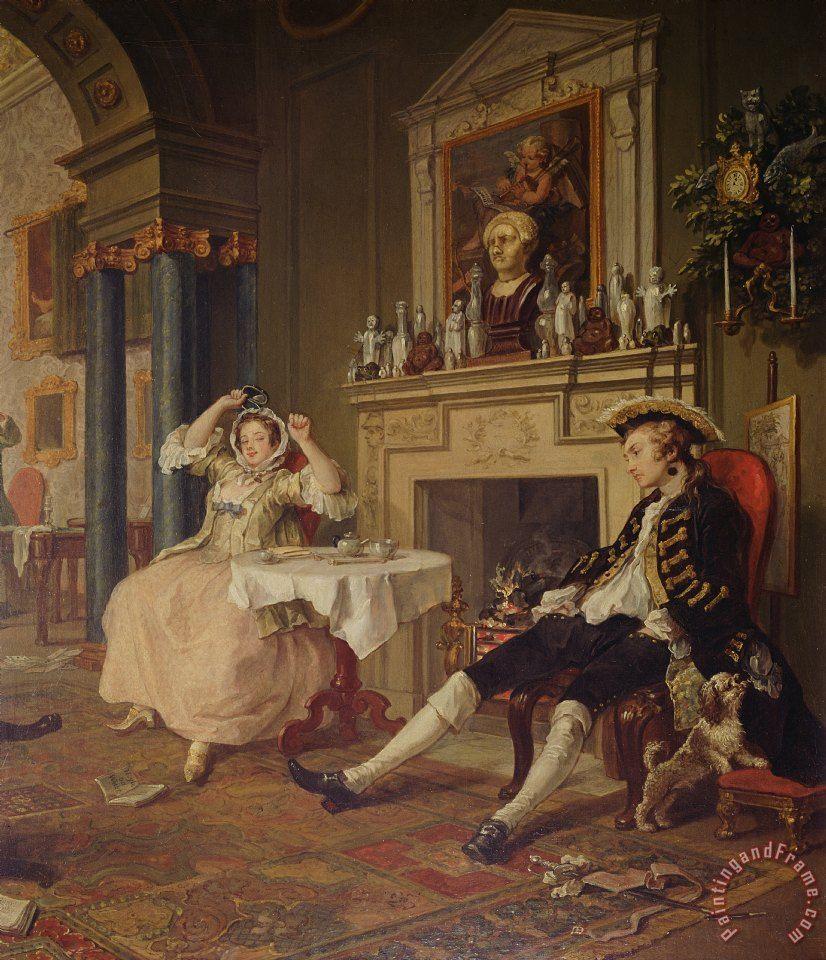 Marriage a-la-mode, componimento in sei quadri, Hogarth,1743-1745. National Gallery, Londra.