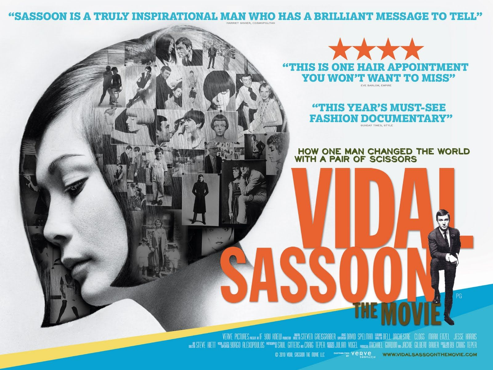 Vidal Sassoon documentary poster.  I just saw this film this morning on one of the premium channels and was quite impressed with the man.  It has great footage from the 60's.