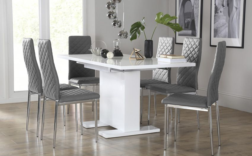 Osaka White High Gloss Extending Dining Table With 6 Renzo Grey Leather Chairs Furniture Choice White Dining Chairs High Gloss Dining Room Dining Chairs