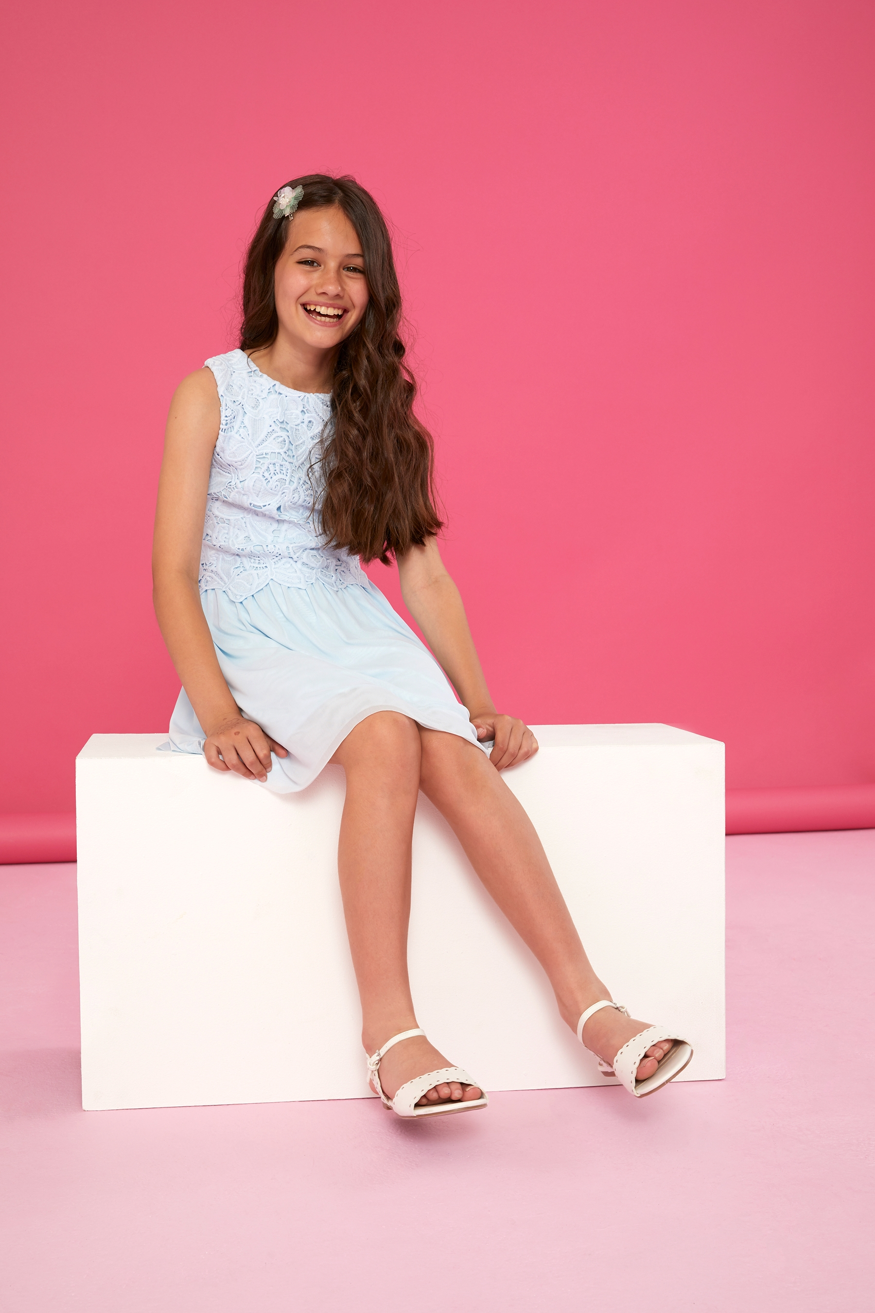 7523c920fa Girls Lipsy Lace Top Skater Dress - Blue   Products   Skater Dress ...