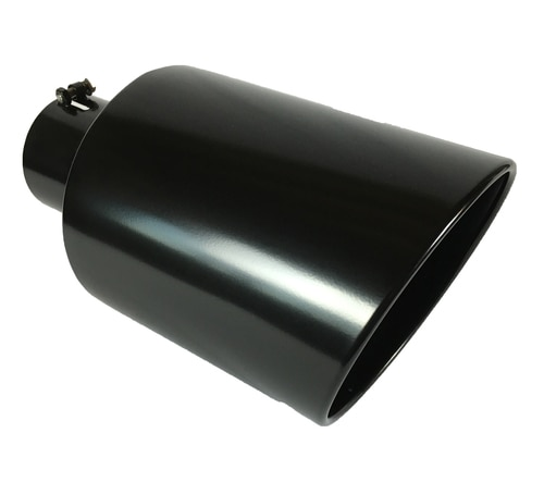 "Exhaust Tip 4.00/"" Dia OD X 10.00/"" Long 2.25/"" Inlet Double Wall Black Stainless S"