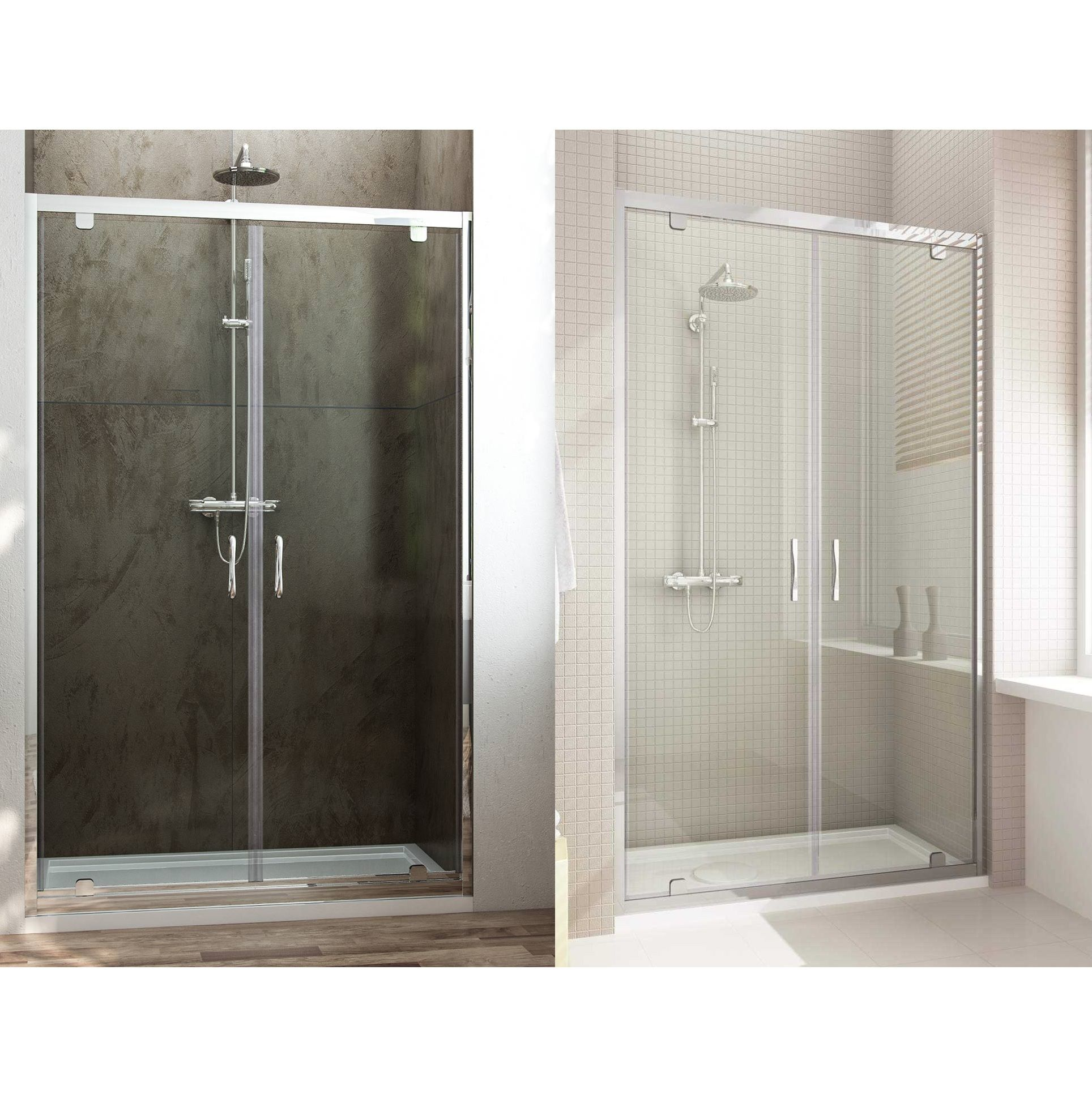 Porta doccia doppia anta a saloon H185 H198 cristallo 6 mm
