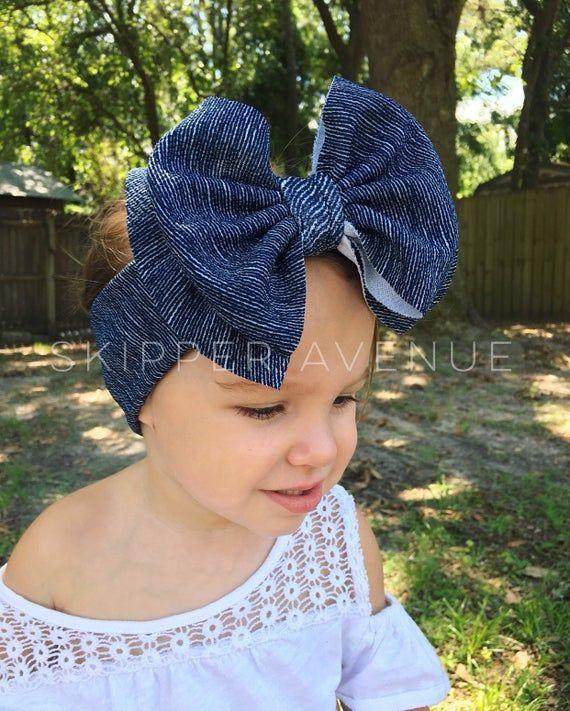 DENIM, Pull-Proof, Stretchy and Soft, Big Bow Headbands, Sewn, Headwrap Style Headbands, Preemie, Newborn, Baby, Toddler, Girls, Women's #headwrapstyles DENIM, Pull-Proof, Stretchy and Soft, Big Bow Headbands, Sewn, Headwrap Style Headbands, Preemie, Ne #headwrapstyles