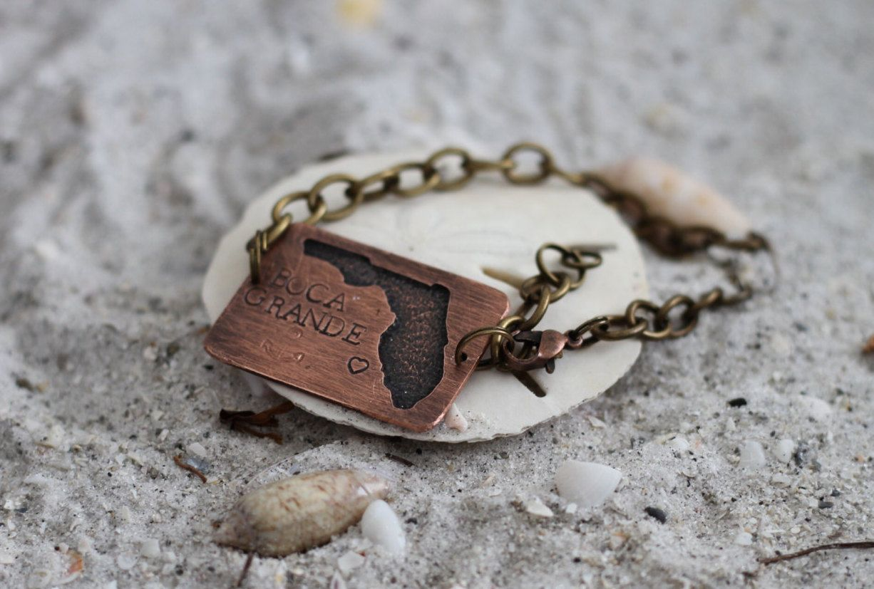 florida copper bracelet - beach jewelry - gift ideas for her - beach