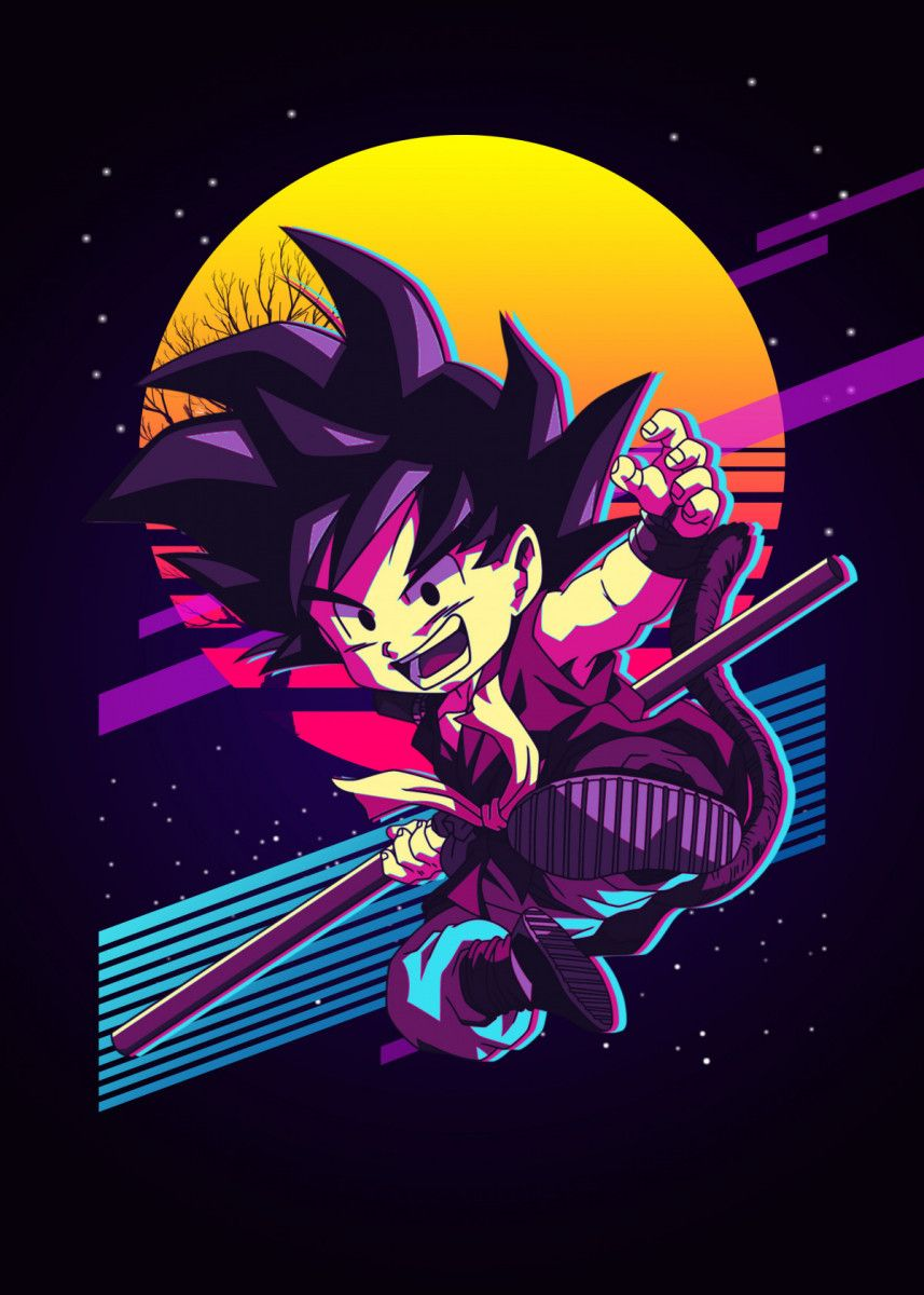 Goku Poster By The Exlucive Displate Anime Dragon Ball Super Dragon Ball Artwork Dragon Ball Wallpapers