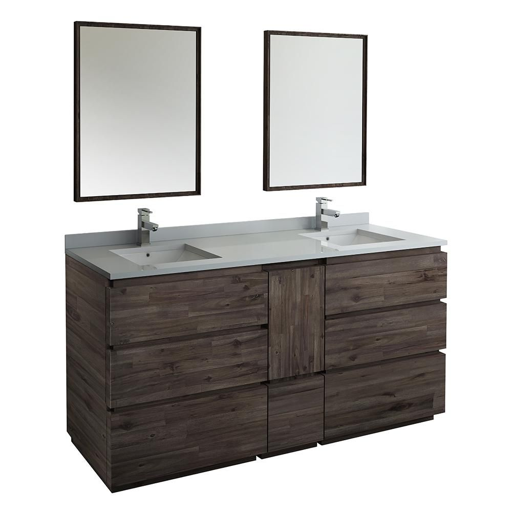 Fresca Formosa 72 In Modern Double Vanity In Warm Gray With Quartz Stone Vanity Top In White With White Basins And Mirrors Bathroom Sink Vanity Double Sink Bathroom Vanity