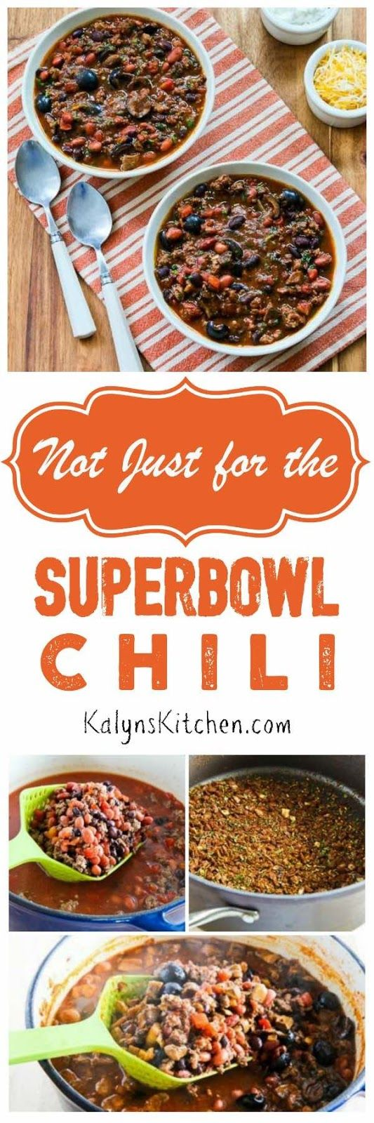 Not Just for the Superbowl Chili with Sausage, Mushrooms, and Olives is perfect for the Superbowl but this chili is too good to make only once a year!  [found on KalynsKitchen.com]