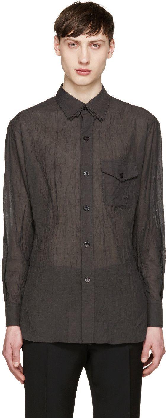 YOHJI YAMAMOTO Grey Wrinkled Voile Shirt. #yohjiyamamoto #cloth #shirt