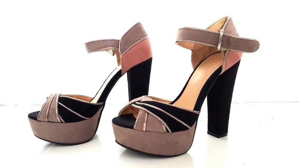"""LCLauren Conrad Heels Size 6.5 Platform Gray Faux Suede 5.5"""" Heel Open Toe Dezi #LaurenConrad #PlatformsWedges #Formal"""
