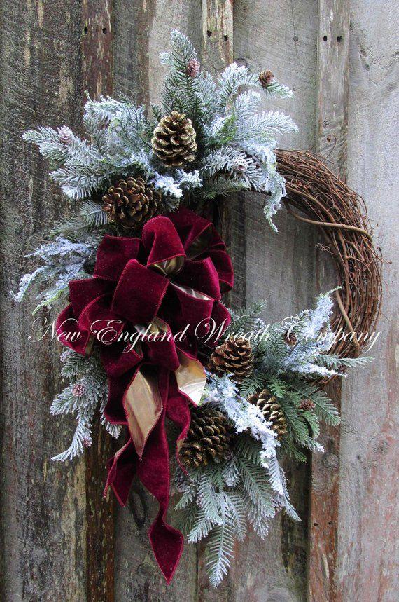 Photo of Holiday Wreath, Designer Holiday Wreath, Luxury Wreath, Burgundy Christmas Wreath, Elegant Winter Wreath, Woodland Holiday, XL Door Wreath