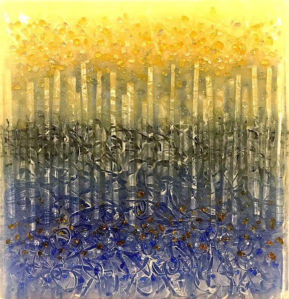Exposure To Rain by Carol Carson (Art Glass Wall Sculpture | Rain