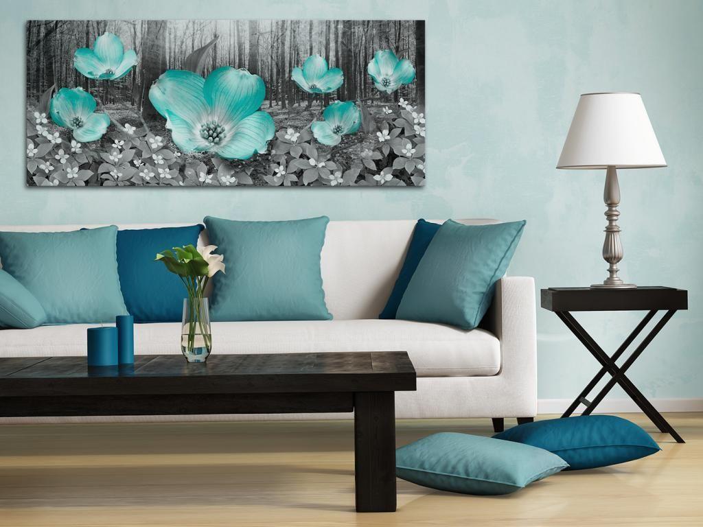11101 Obraz Na Plotnie Kwiaty Kolor Mieta 120x50 4923336929 Oficjalne Archiwum Allegro Beach Wall Decor Large Canvas Art Ocean Waves Art