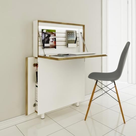 Genial Ultra Thin Modern Secretary Desk Idea To Keep You Organized If Youu0027re Short  On Space.
