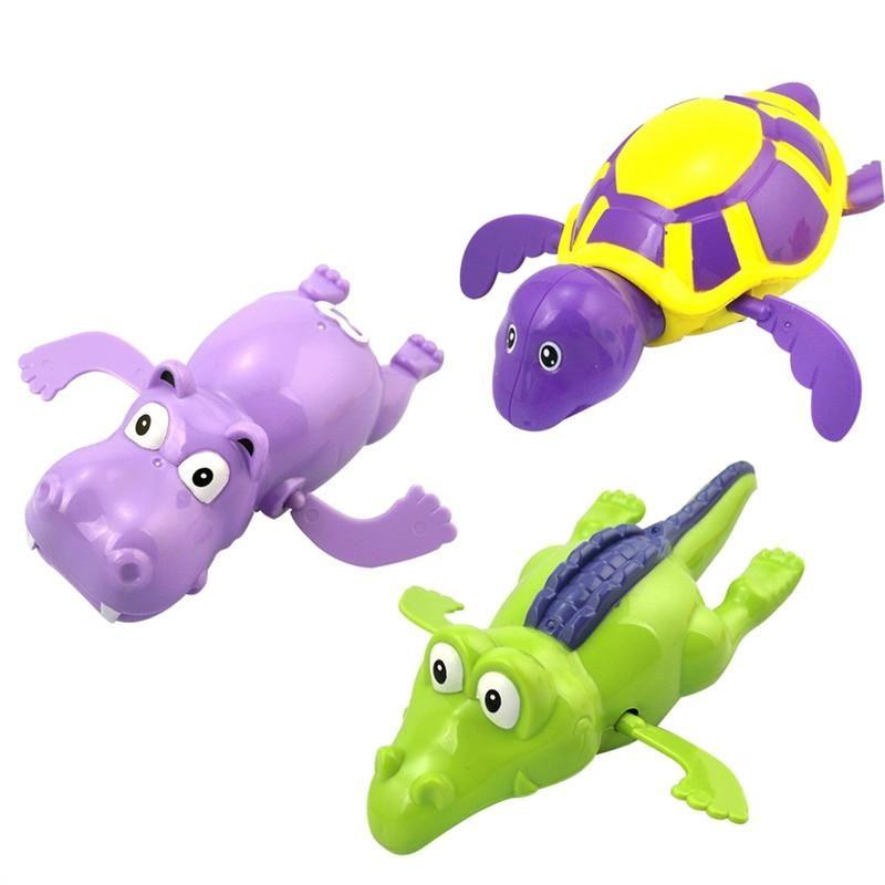 3pcs Pool Wind Up Bath Toys Animals Turtle Hippo Crocodile Swimming ...