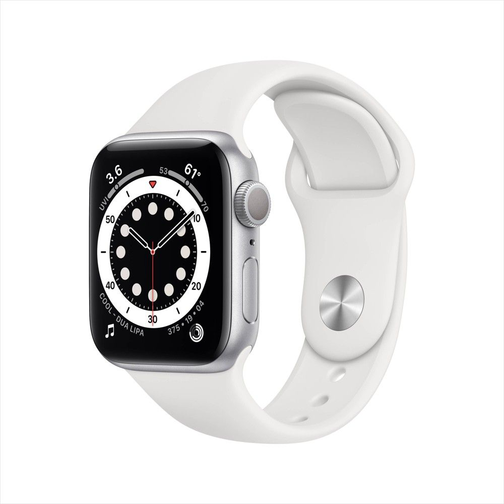 Apple Watch Series 6 Gps 44mm Silver Aluminum Case With White Sport Band In 2020 Buy Apple Watch Apple Watch New Apple Watch
