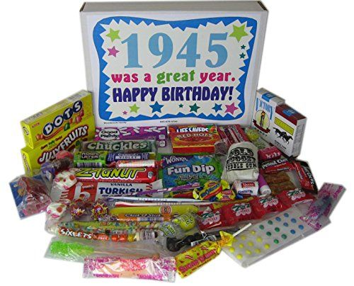 70th Birthday Gift Basket Box 1945 Retro Nostalgic Candy Woodstock