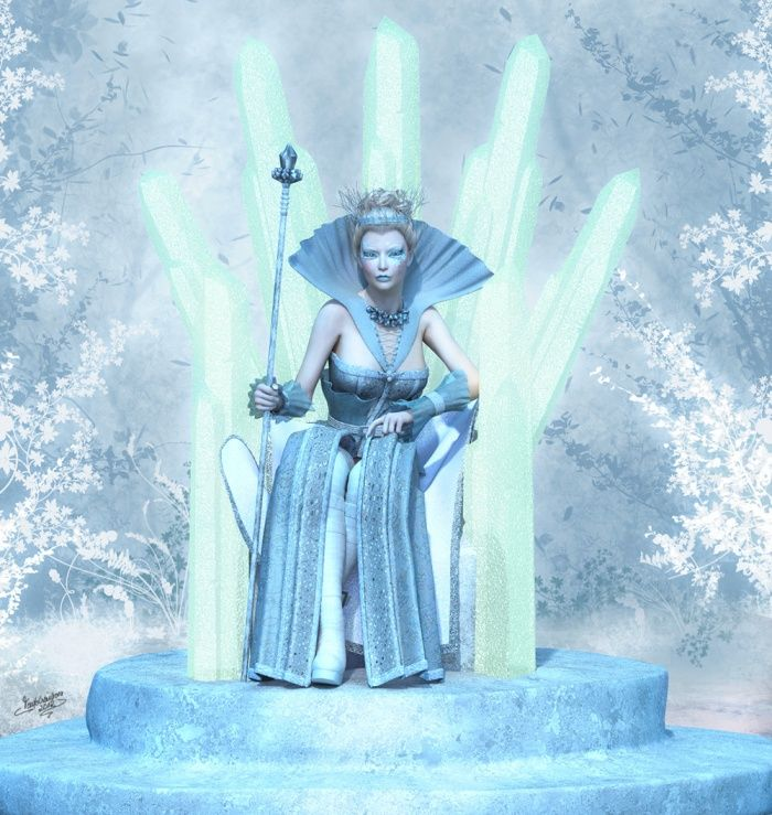 snow queen on icy throne