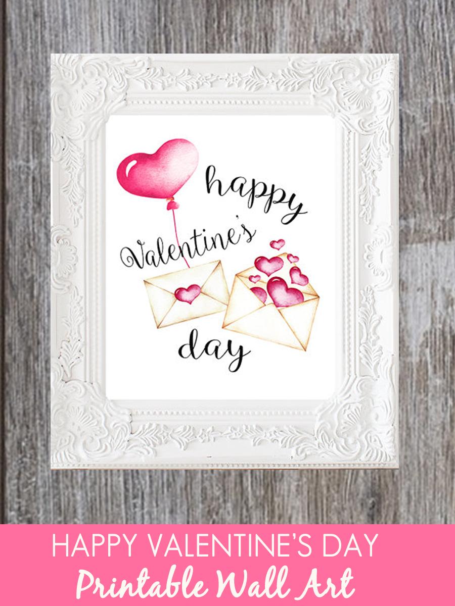 Happy Valentine S Day Print Valentine Printable Watercolor Hearts