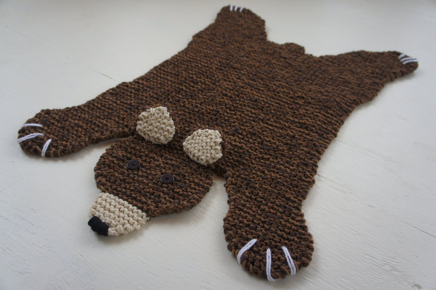 Flat brown bear rug/ mat/ blanket | Häkeln