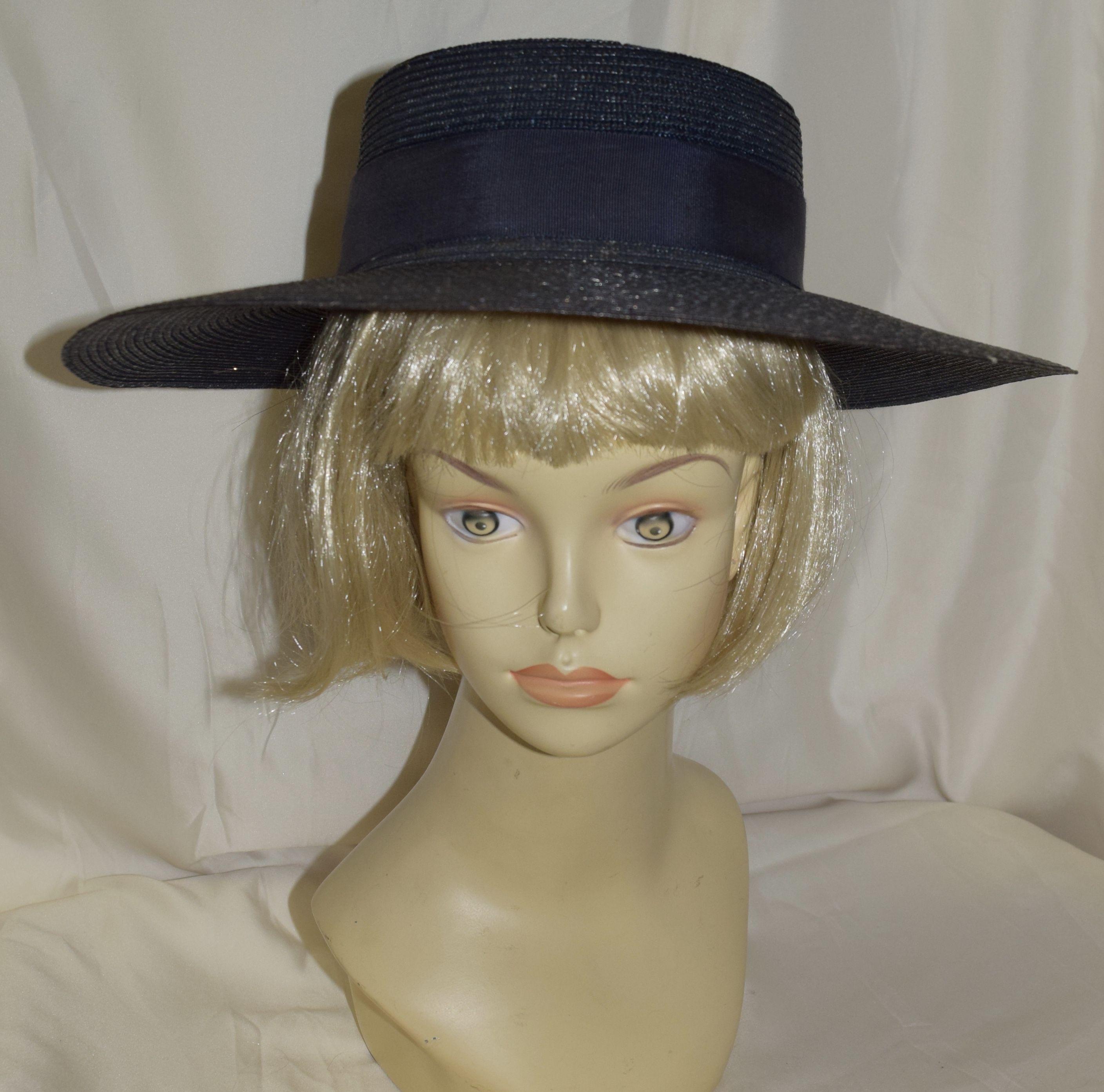 2e5af947890 Vintage Toppers Navy Blue Wide Brim Fancy Summer Hat