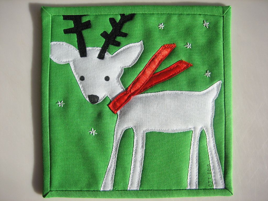 """Original Pinner: 'Mug Rug for a Dear Friend. Copied fom a Target flier, with the addition of my own hand stitched sonflakes."""""""