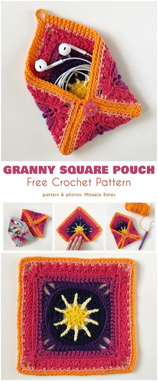 Granny Square Pouch Free Crochet Pattern #grannysquares