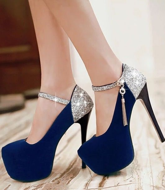 04a84172bff9 Sexy Ultra-High Sequins High-Heeled Shoes Shoes Heels Black, Navy Blue High