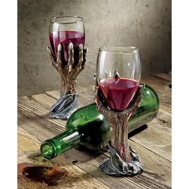Zombie wine glasses made of resin Crafts Pinterest Gothic