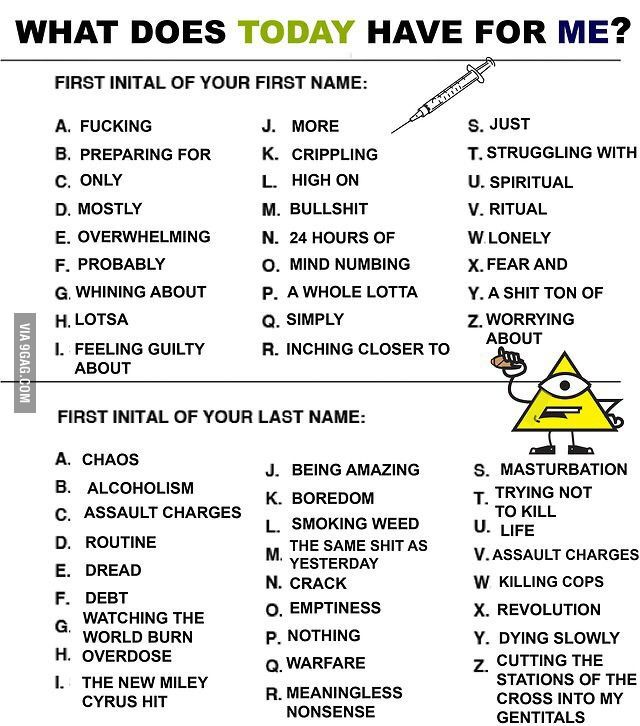 What Does Today Have For You Funny Name Generator Funny Names Birthday Scenario