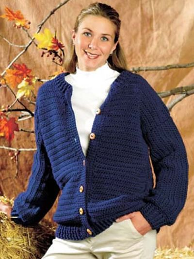 Nice clean lines. Cardigan w/ wooden buttons. By Lillian Jarmie ...