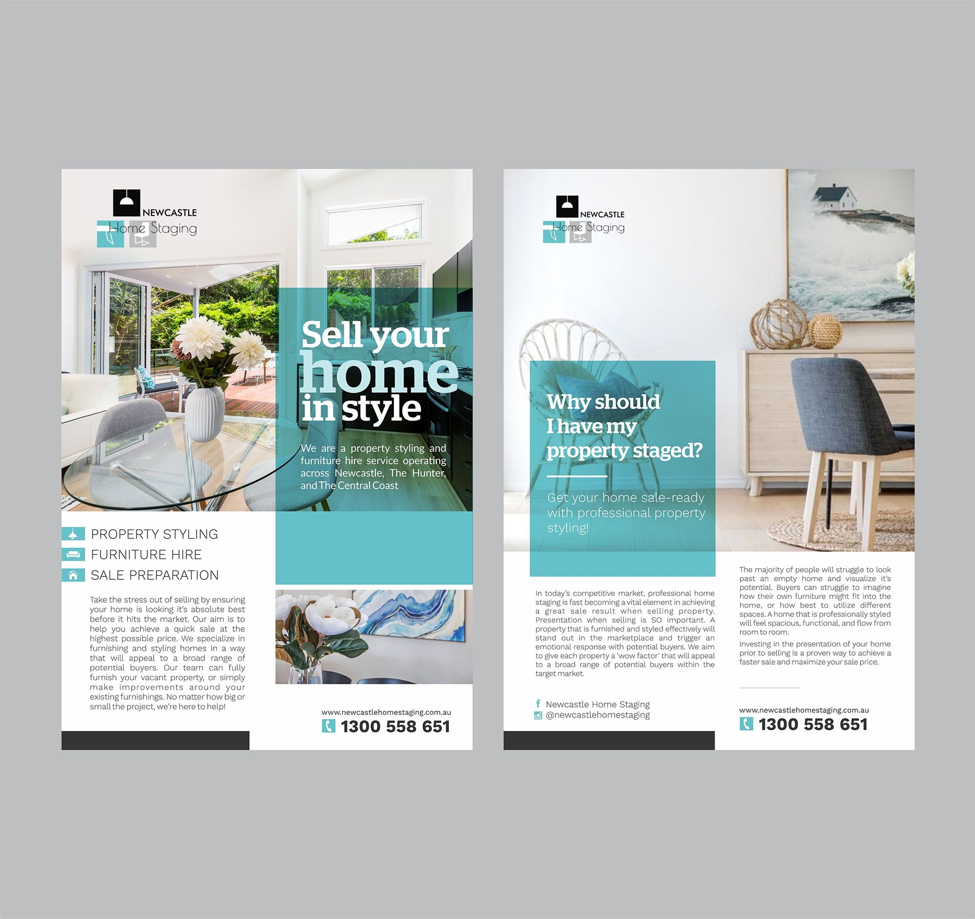 Interior Design Home Staging: Design Double Sided Flyer For Newcastle Home