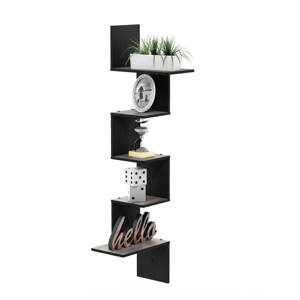 Furinno Rossi Modern 13 in. x 13 in. x 49 in. Espresso Wood Decorative Wall Shelf, Brown #wandregaledekorieren