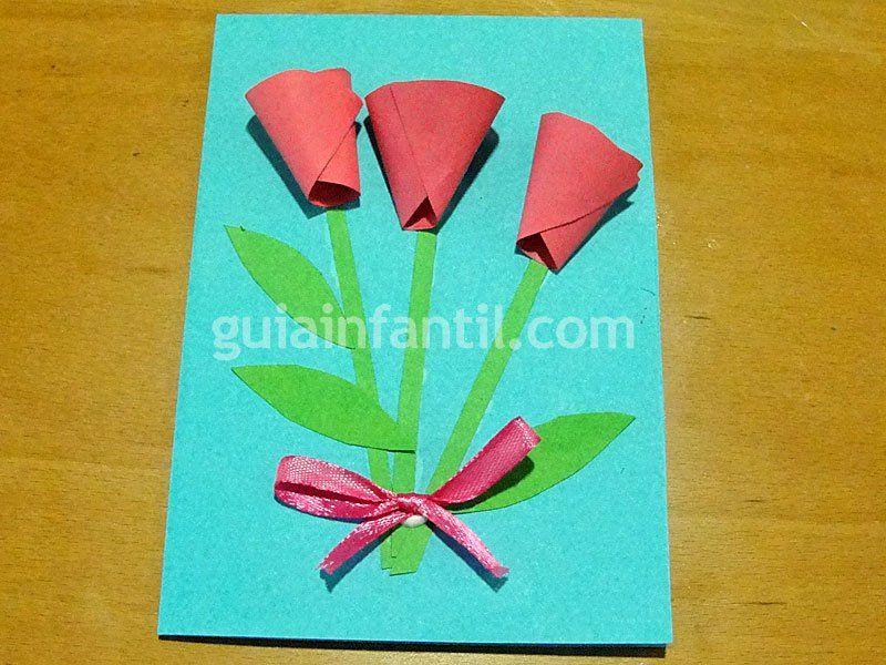 C mo hacer una tarjeta de flores para el d a de la madre - Como hacer targetas de navidad ...