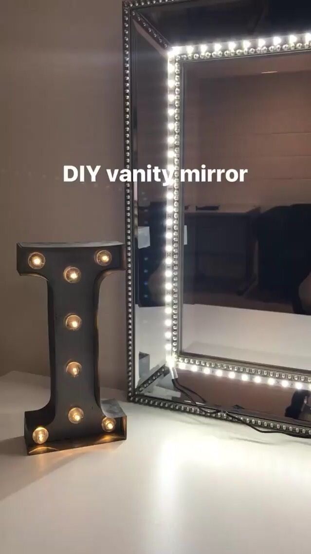 DIY Vanity Mirror. I used any mirror and LED strip lights ...