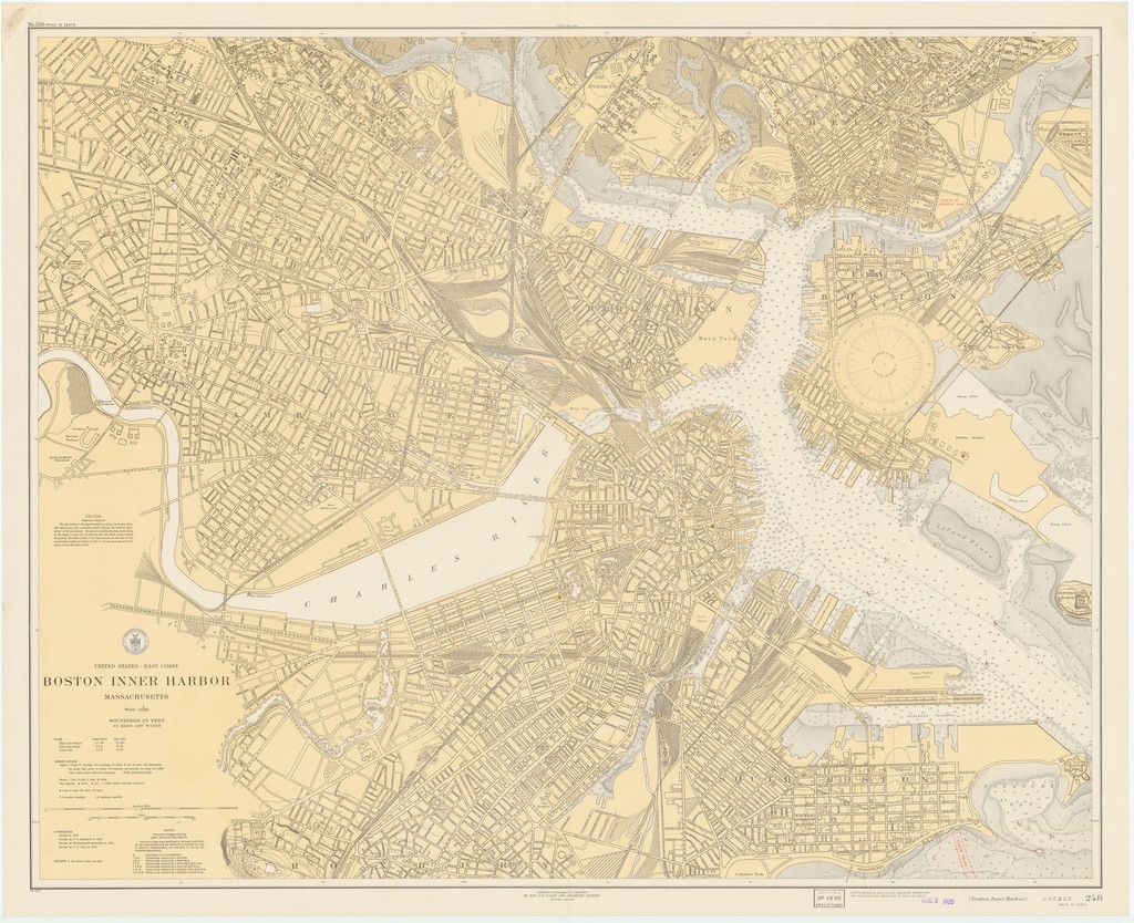 Boston Inner Harbor Historical Map 1921