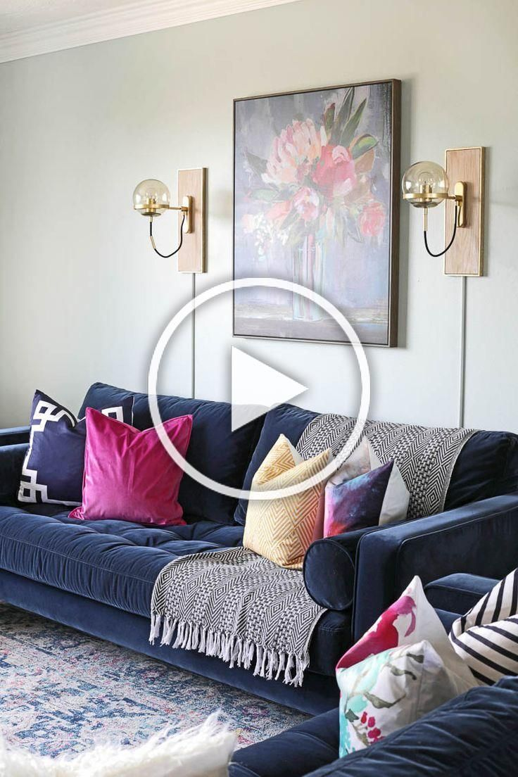 I transformed my neutral farmhouse living room into a colorful modern and sophisticated space with the help of my beautiful new navy blue velvet sofas from Article