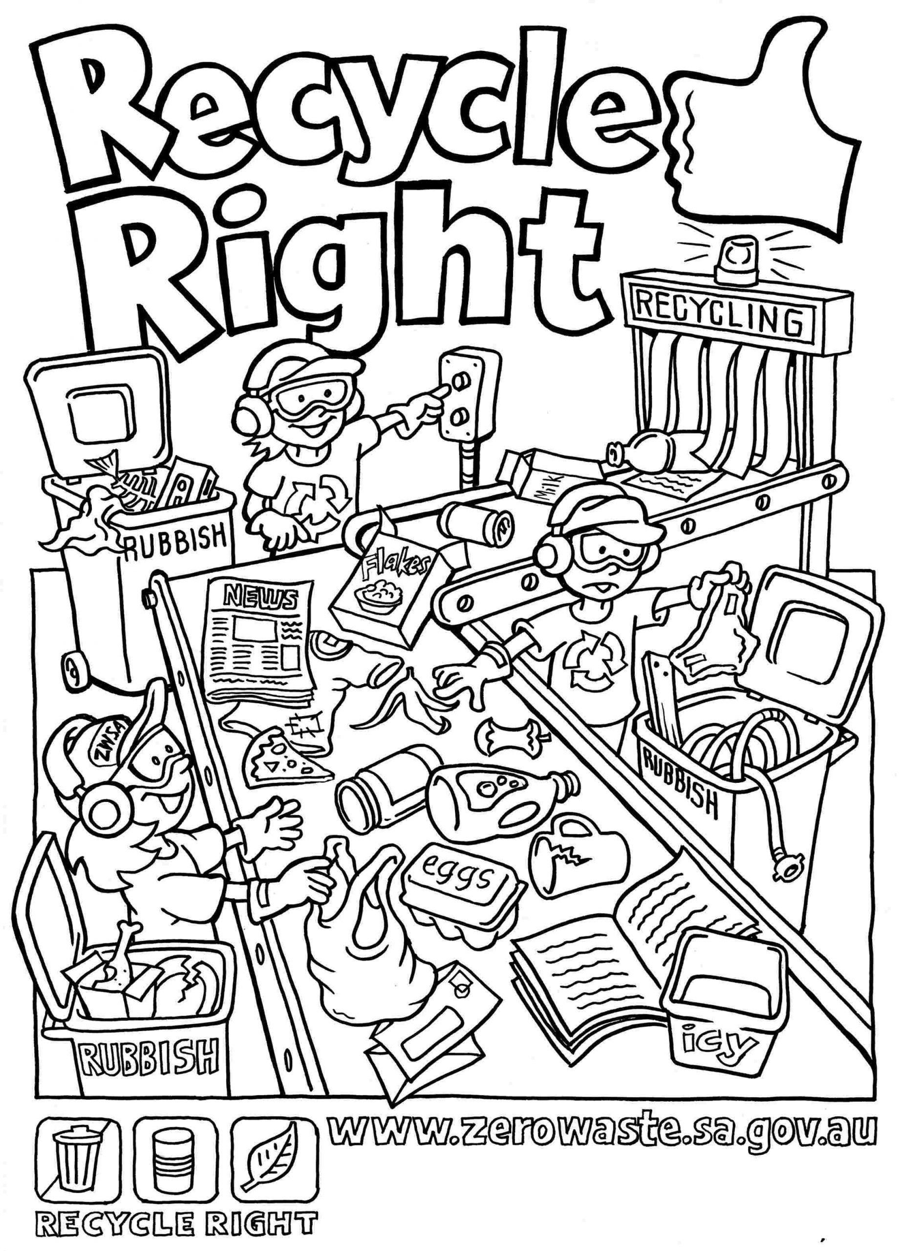 Recycle Worksheets For Kindergarten Coloring Pages Of