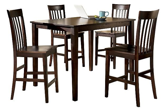 Reddish Brown Hyland Counter Height Dining Room Table and ...