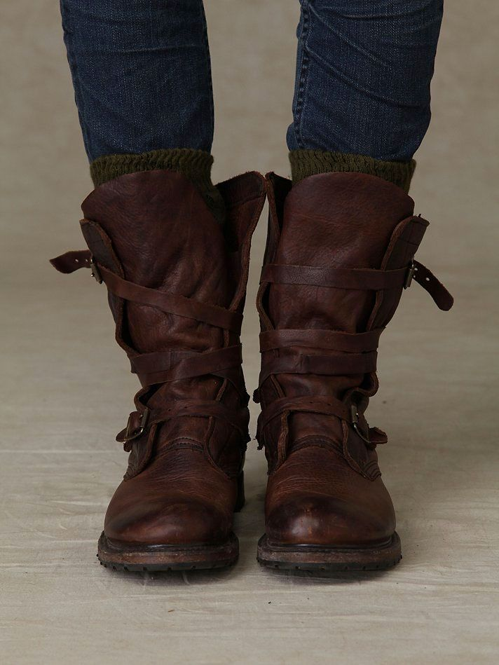 Rayna Wrap Boots by Free People    (Super soft   supple) Leather wrap boot  with buckle detailing on the side of either boot. Stacked wood heel. Rugged  sole. 4a772fcd99a