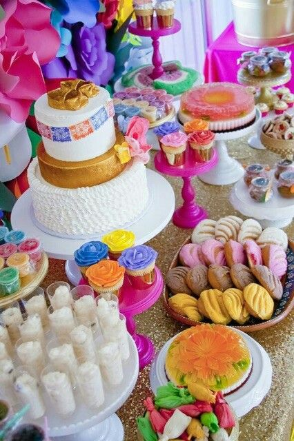 Dessert Table For A Mexican Fiesta Mexican Party Theme Mexican Theme Baby Shower Mexican Birthday Parties