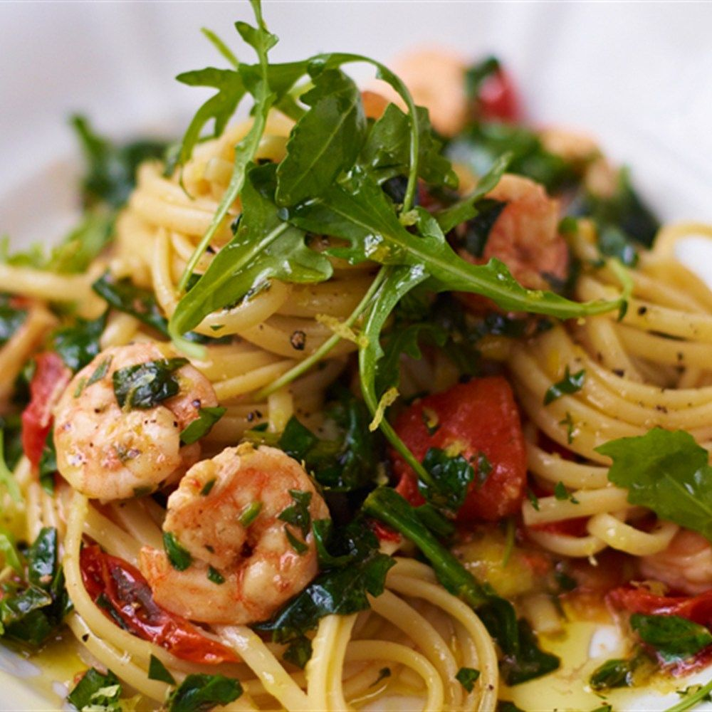 Jamie Oliver 15 Minuten Küche Pasta Pesto Sizzling Hot Prawn And Spinach Linguine