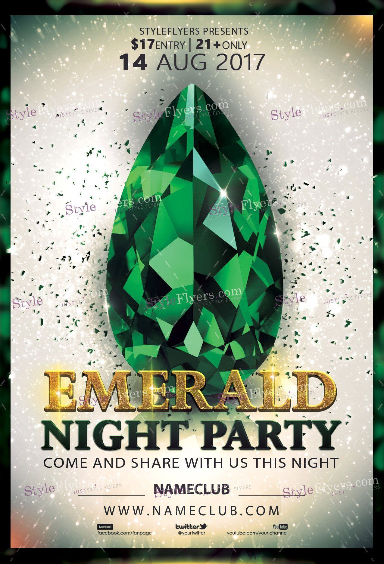Emerald Party Psd Flyer Template  Flyers    Psd Flyer