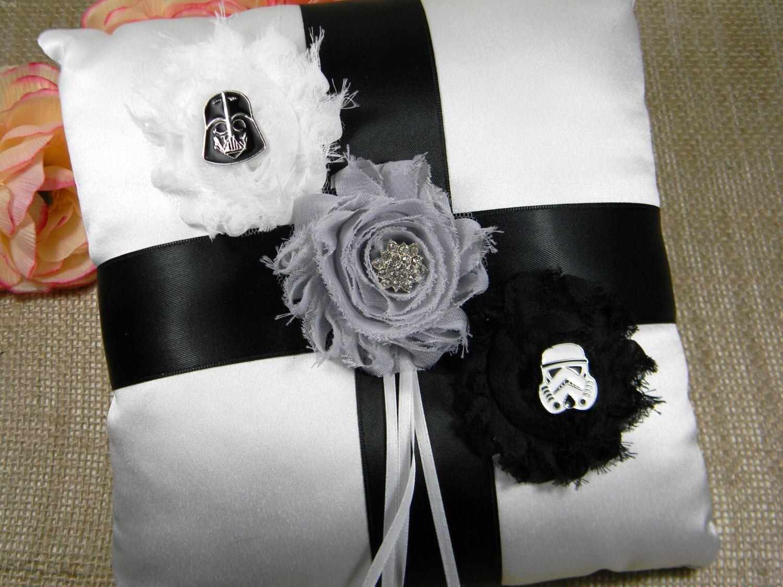 star wars wedding rings Star Wars Ring Bearer Pillow Darth Vader and Stormtrooper Ring Pillow White Satin Wedding