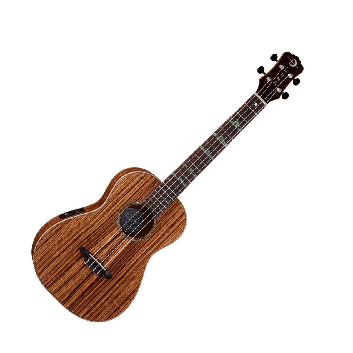 Luna High Tide Baritone Electro Acoustic Ukulele, Zebrawood at Gear4music.com