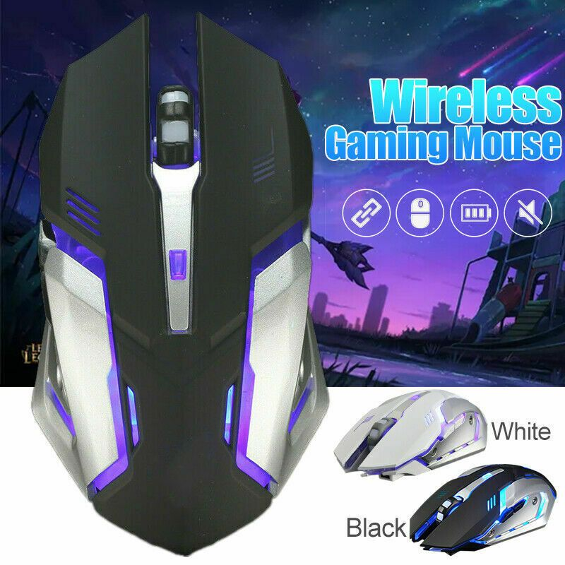 Rechargeable Wireless Silent LED Backlit USB Optical Ergonomic Game Mouse Mice H
