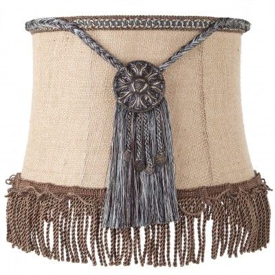 Brandi Renee Designs - All Lit Up Outback 3 Lampshade - Rustic burlap with gold medallion fringed centerpieces and bronze scalloped ribbon.