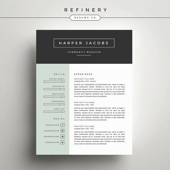 Modern Resume Template and Cover Letter Template for Word | DIY ...
