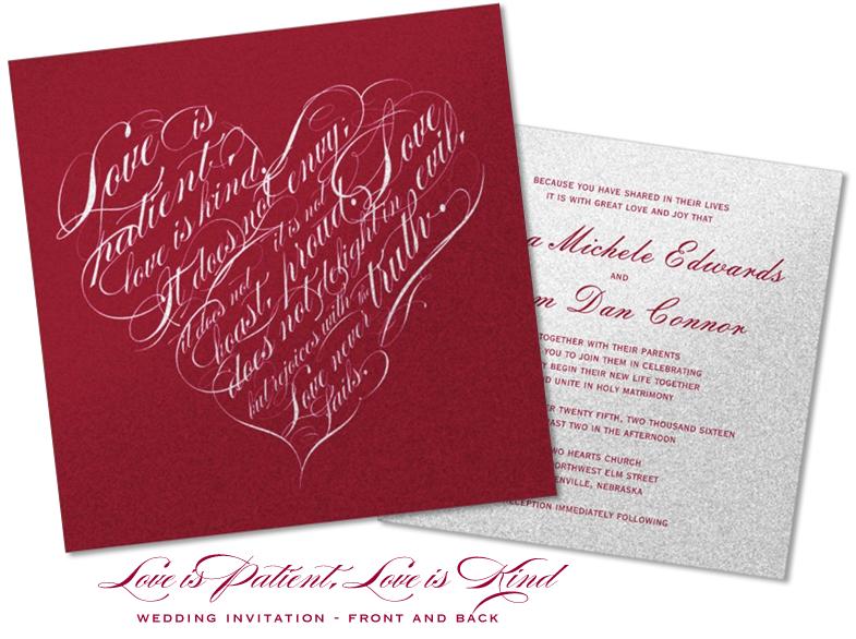 Love Is Patient Kind Wedding Invitation