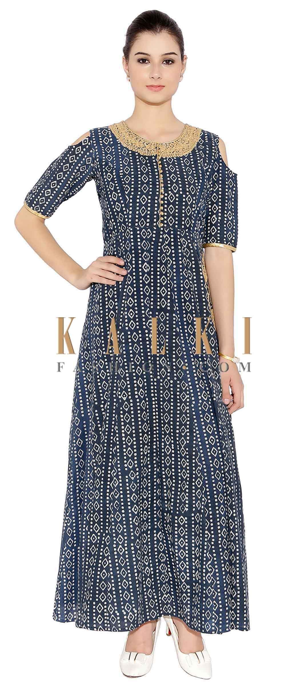 a3d9a4ce1d8 Grey Blue Cotton Kurti With Cut Out Shoulder Style Kurti With Thread  Embroider On Neck And One On Side Only On Kalki