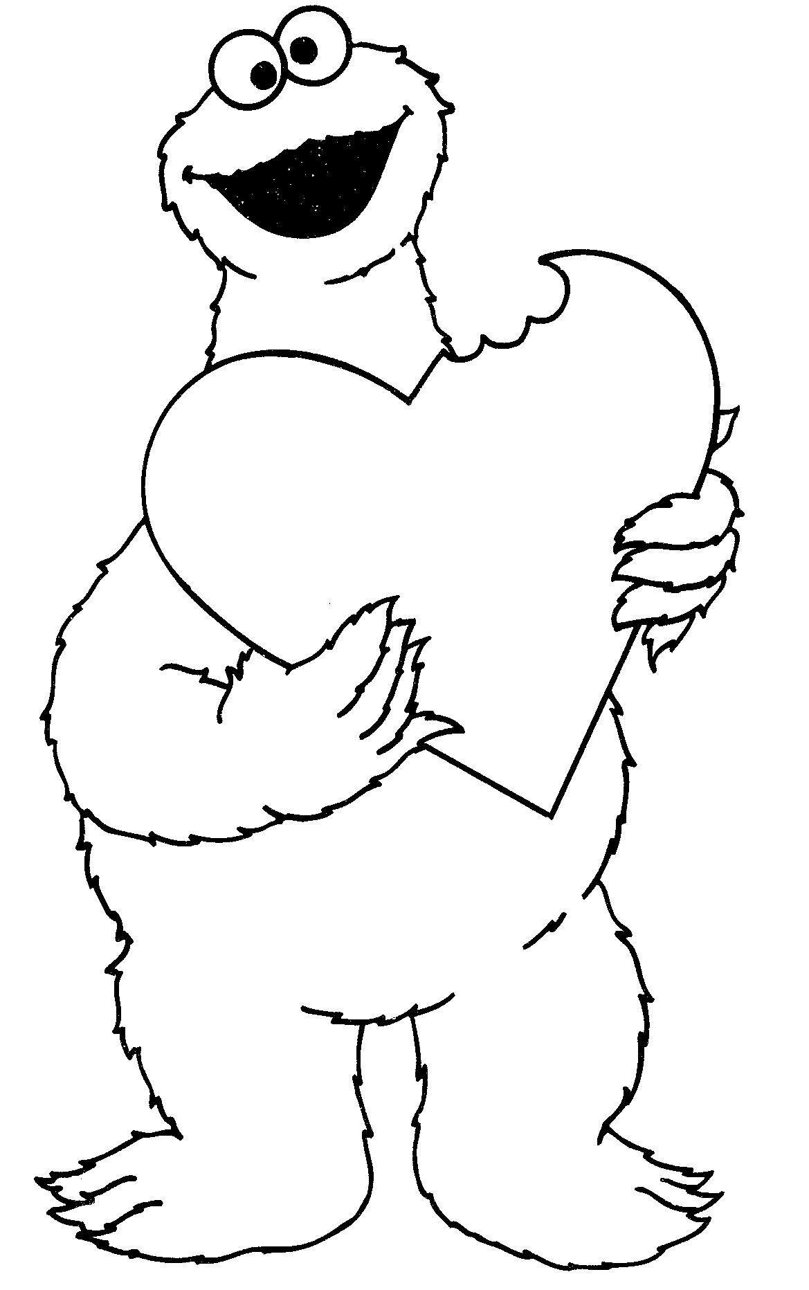 valentines day cookie monster coloring pages - Cookie Monster Coloring Pages